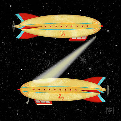 Digital Art - Z Is For Zeppelin by Valerie Lesiak