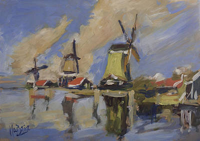 Painting - Zaanse Schans Windmills by Nop Briex