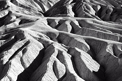 Photograph - Zabriskie Point Badlands Black And White by Jim Moss