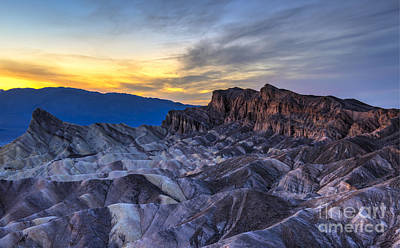 Texture Photograph - Zabriskie Point Sunset by Charles Dobbs