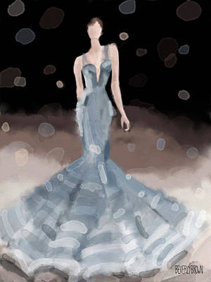 Painting - Zac Posen Grey Dress Fashion Illustration by Beverly Brown Prints