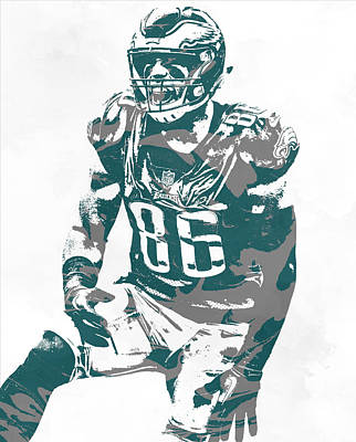 Mixed Media - Zach Ertz Philadelphia Eagles Pixel Art 12 by Joe Hamilton