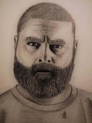 Drawing - Zach Galifianakis by Angelee Borrero