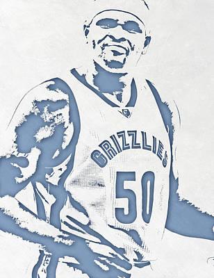 Memphis Grizzlies Mixed Media - Zach Randolph Memphis Grizzlies Pixel Art by Joe Hamilton