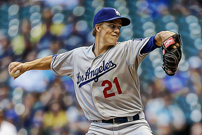 Baseball Mixed Media - Zack Greinke Los Angeles Dodgers by Marvin Blaine