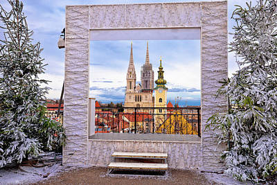 Photograph - Zagreb Cathedral And Cityscape Advent View by Brch Photography
