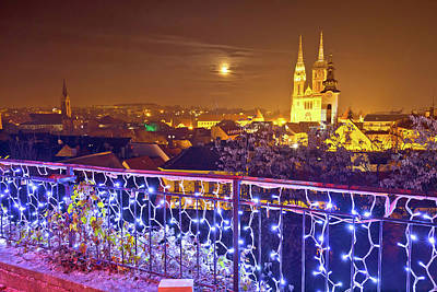 Photograph - Zagreb Cathedral And Cityscape Evening Advent View by Brch Photography
