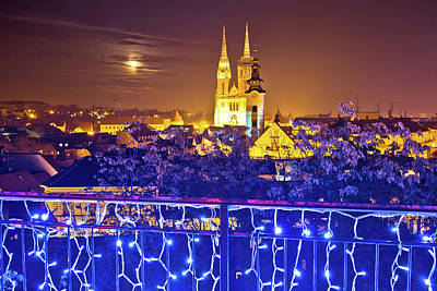 Photograph - Zagreb Cathedral Evening Advent View by Brch Photography