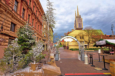 Photograph - Zagreb Christmas Market And Cathedral Advent View by Brch Photography