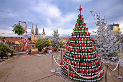 Photograph - Zagreb Christmas Tree And Landmarks View On Advent Marker Of Upp by Brch Photography