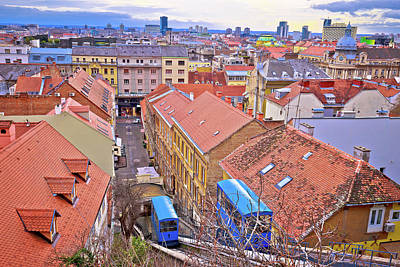 Photograph - Zagreb Funicular Ad Rooftops Of Old Center by Brch Photography