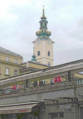 Digital Art - Zagreb Market by Ann Johndro-Collins