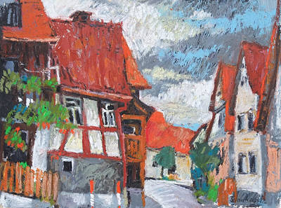 Painting - Zaisersweiher,maulbronn, Rural Village,red Roofs by Martin Stankewitz