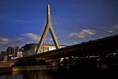 Zakim Bridge And Boston Garden At Sunset Art Print