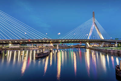 Photograph - Zakim Bridge And Charles River At Dawn by Val Black Russian Tourchin