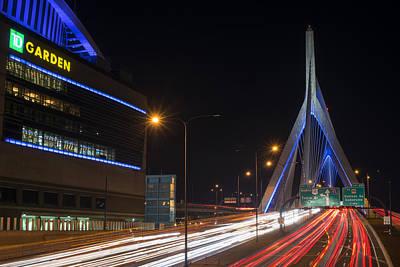 Photograph - Zakim Bridge And Td Garden Boston Ma Long Exposure by Toby McGuire