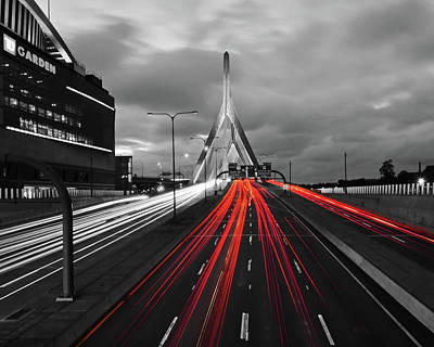 Photograph - Zakim Bridge And Td Garden Boston Ma Red Tail Lights by Toby McGuire
