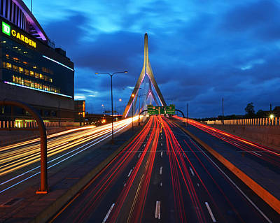 Photograph - Zakim Bridge And Td Garden Boston Ma by Toby McGuire