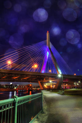 Photograph - Zakim Bridge At Night - Boston by Joann Vitali