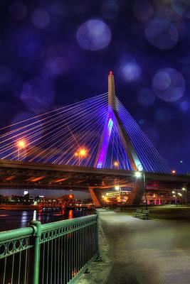 Abstract Shapes Janice Austin Royalty Free Images - Zakim Bridge at Night - Boston Royalty-Free Image by Joann Vitali