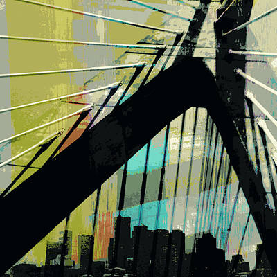Zakim Bridge Boston V2 Art Print by Brandi Fitzgerald