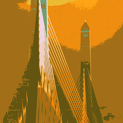 Zakim Bridge Boston V6 Art Print by Brandi Fitzgerald