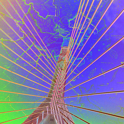 Zakim Bridge Boston V8 Art Print by Brandi Fitzgerald