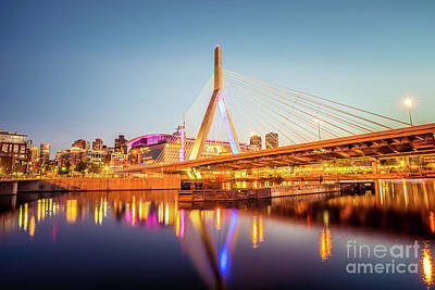 Zakim Bunker Hill Bridge At Night Boston Photo Art Print by Paul Velgos