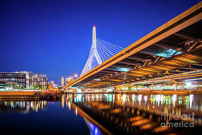 Charles River Photograph - Zakim Bunker Hill Bridge At Night Photo by Paul Velgos