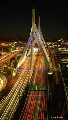 Photograph - Zakim Traffic by Walt Baker