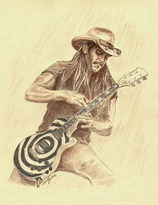 Colored Pencil Portrait Drawing - Zakk Wylde by Kathleen Kelly Thompson