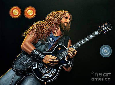Gibson Painting - Zakk Wylde by Paul Meijering