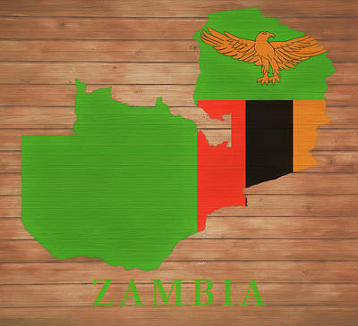 Mixed Media - Zambia Rustic Map On Wood by Dan Sproul
