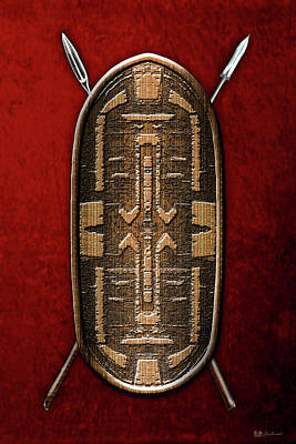 Digital Art - Zande War Shield With Spears On Red Velvet  by Serge Averbukh