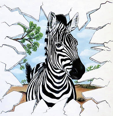 Art Print featuring the painting Zany Zebra by Teresa Wing
