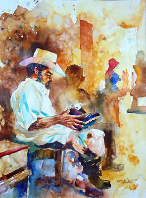 Campesinos Painting - Zapatero by Cesar Roman Murillo