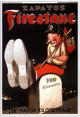 Mixed Media - Zapatos Firestone - Firestone Shoes - Vintage Advertising Poster by Studio Grafiikka