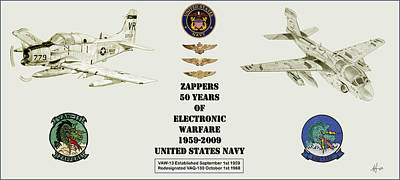 Prowler Drawing - Zappers 50 Years Then And Now With Pilot Nfo And Aircrew Wings by Nicholas Linehan