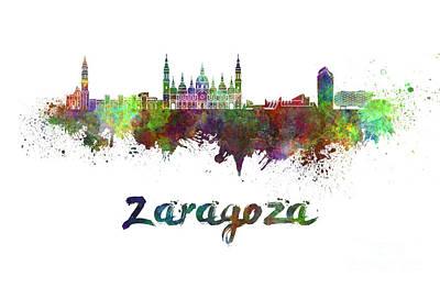 Grand Rapids Painting - Zaragoza Skyline In Watercolor by Pablo Romero