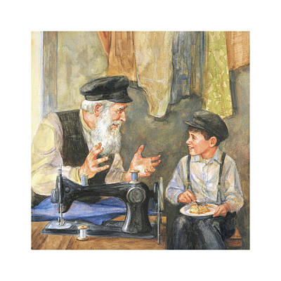 Wall Art - Painting - Zayde The Storyteller by Laurie McGaw
