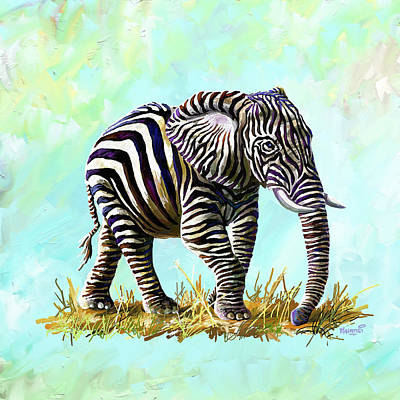 Painting - Zebraphant by Anthony Mwangi