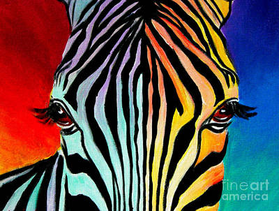 Zebra Art Painting - Zebra - End Of The Rainbow by Alicia VanNoy Call