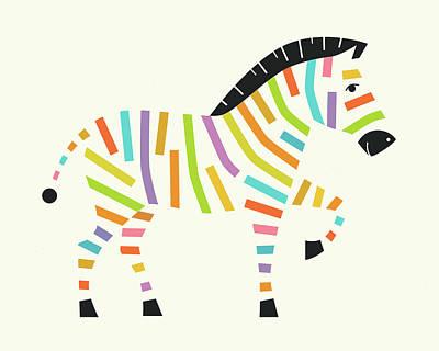 Zebra Digital Art - Z Is For Zebra - 1 by Jazzberry Blue