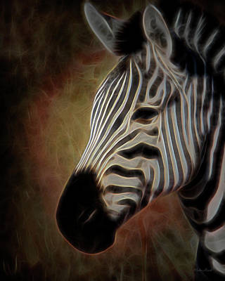 Digital Art - Zebra Photoart 2a by Walter Herrit