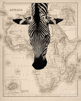 Decoupage Photograph - Zebra And Africa Map by Delphimages Photo Creations