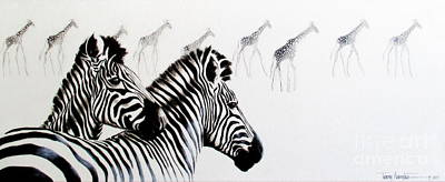 Painting - Zebra And Giraffe by Tracey Armstrong