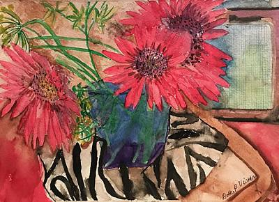 Zebra And Red Sunflowers  Art Print
