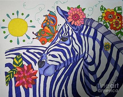 Painting - Zebra And Things by Alison Caltrider