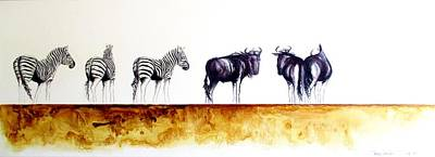 Zebra And Wildebeest Art Print