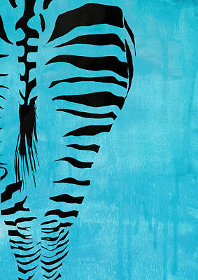 Zebra Painting - Zebra Animal Decorative Blue Poster 1 - By Diana Van by Diana Van